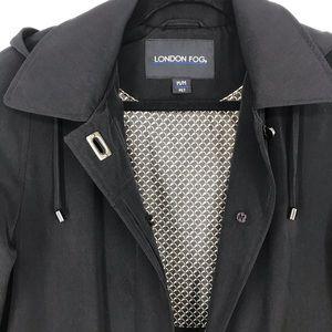 London Fog black long trench coat medium petite